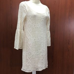 AEO Dress Boho Bell Sleeve Crochet Lace Creme SP
